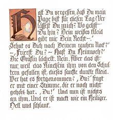 """Nachschrift zu RIlkes """"Cornet"""" (Quelle: Wikipedia)"""
