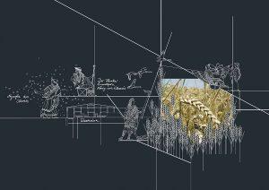 Wandpanorama mit dem Verweis auf den Eumolpos-Mythos
