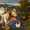 huile sur toile  <BR> Tizian [1477/1488/90 - 1576]  <BR> Höhe x Breite 71x87 cm <BR> Maria mit dem Jesuskind und der Heiligen Katharina <BR> Inventar-Nr.: Inv.743, Artist: Tizian   FOR USE ONLY IN GERMANY, SWITZERLAND OR AUSTRIA